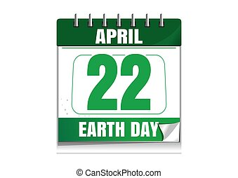 Earth Day. Wall calendar. 22 April. Earth Day date in the...
