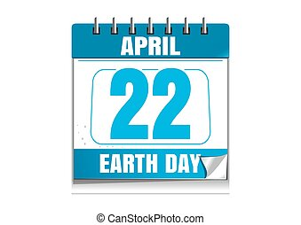 Earth Day date in the calendar. 22 April. Blue wall...