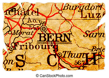Bern old map - Bern, Switzerland on an old torn map from...