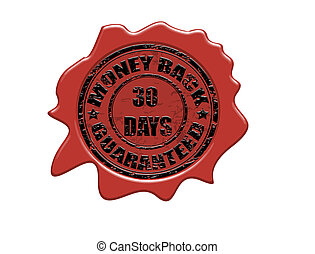 Money back wax seal - Wax seal with the text money back...