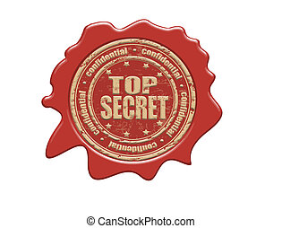 Top secret wax seal - Wax seal with the text top secret,...