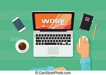 Person working on laptop computer analyzing vector illustration, concept of freelancer hands on workplace
