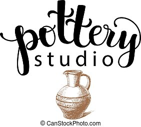 Pottery studio logo, vector illustration used modern...