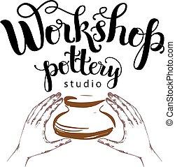 Workshop pottery studio logo - Pottery studio logo, vector...