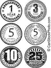Set of six anniversary designs in rubber stamp style. There...