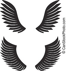 Two pair of black vector wings for your design