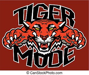 tiger mode mascot design with claws for school, college or...