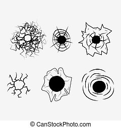 beground white - Bullet Hole icon. Fully editable vector...