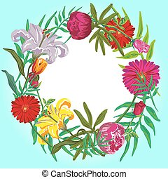 Floral colorful round frame vector card template