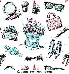 Spring Shopping Pattern. Accessories, Clothing and Fashion Elements. Vector
