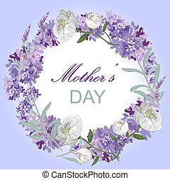 Lavender and peony floral card template Mother day celebration