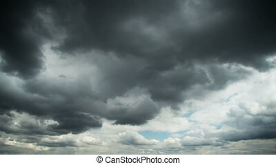 Storm Clouds Moving in the Sky. Time Lapse - Storm Gray...