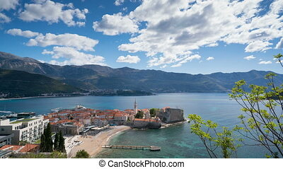 view to the Old Town od Budva in Montenegro, time lapse