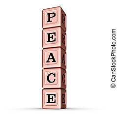 Peace Word Sign. Vertical Stack of Rose Gold Metallic Toy Blocks.