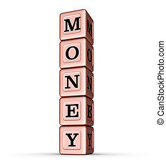 Money Word Sign. Vertical Stack of Rose Gold Metallic Toy Blocks.