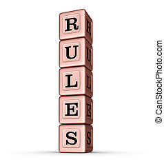 Rules Word Sign. Vertical Stack of Rose Gold Metallic Toy Blocks.