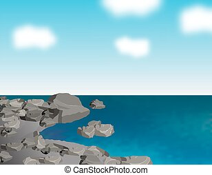 The stony sea shore. Gray stones. Ripples on the sea and clouds. Reflections in the water. Landscape. illustration