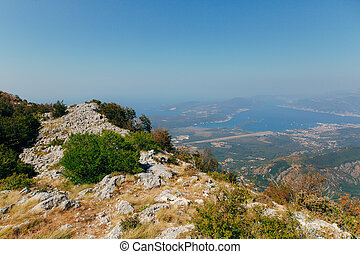 View of the mountain Lovcen Tivat. Tivat Airport. Lustica...