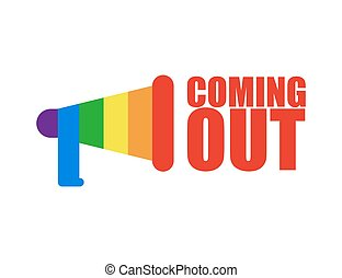 Coming out LGBT sign. Icon social network. Rainbow...