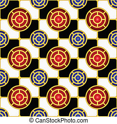 Checkerboard seamless pattern with hemispheres and golden...