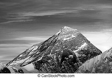 Mount Everest from Gokyo valley - Black and white view of...