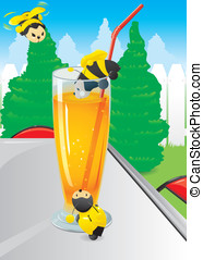 Cute bees attracted by the sweet scent of orange juice in...