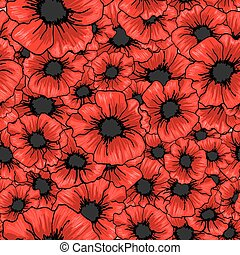 Red poppy flower seamless pattern. For fabric textile...