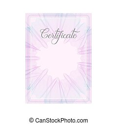 Guilloche official pink certificate with frame - Pink...