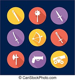 Old Weapons Icons Flat Design Circle - This image is a...