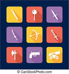 Old Weapons Icons Flat Design - This image is a illustration...