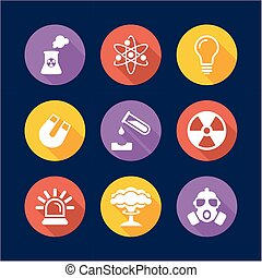 Nuclear Power Plant Icons Flat Design Circle