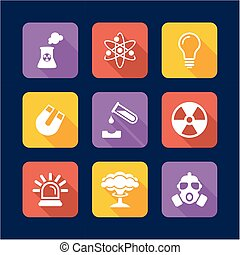 Nuclear Power Plant Icons Flat Design