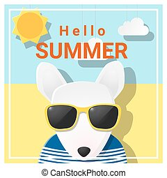 Hello summer background with dog wearing sunglasses 4