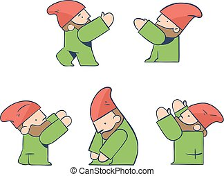 Construction Worker Architect Gnome Icons - Builders in 5...