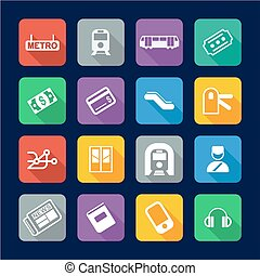 Metro Or Subway Icons Flat Design - This image is a...