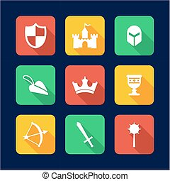 Medieval Icons Flat Design