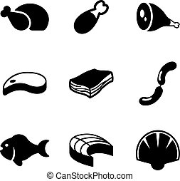 Meat Icons - This image is a illustration and can be scaled...