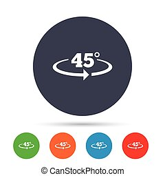 Angle 45 degrees sign icon. Geometry math symbol. Round...