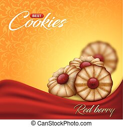 Buttery cookies with red berry jam on floral pattern backdrop. Label, packaging or advertising poster design. Bright orange and yellow biscuit background with wave of red cloth.