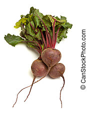 Isolated Beetroot - Freshly picked beetroot with their roots...