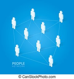 Social people network concept isometric vector illustration