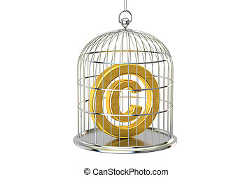Birdcage with copyright symbol inside, 3D rendering