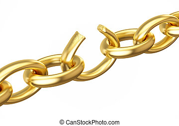 breaking golden chain, 3D rendering