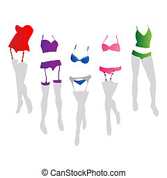Women lingerie - Collection of women lingerie in colors
