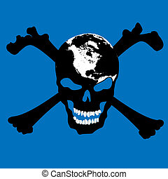Pirate skull with map over blue background