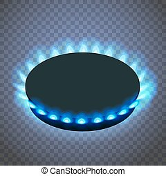 Isometric gas burner or hob on a transparent background. Vector Blue flame.