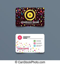 CD or DVD sign icon. Compact disc symbol. - Business card...