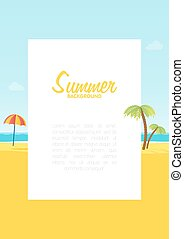 Summer tropical sea beach background with space for text vector illustration