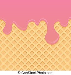 Ice cream pattern cream and wafle texture vector...