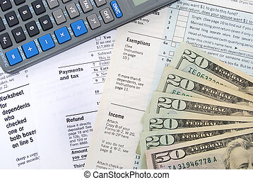 Tax Refund - tax forms and money